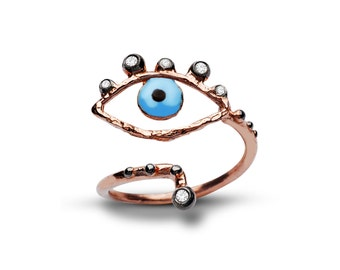 evil eye ring with stones- free shipping
