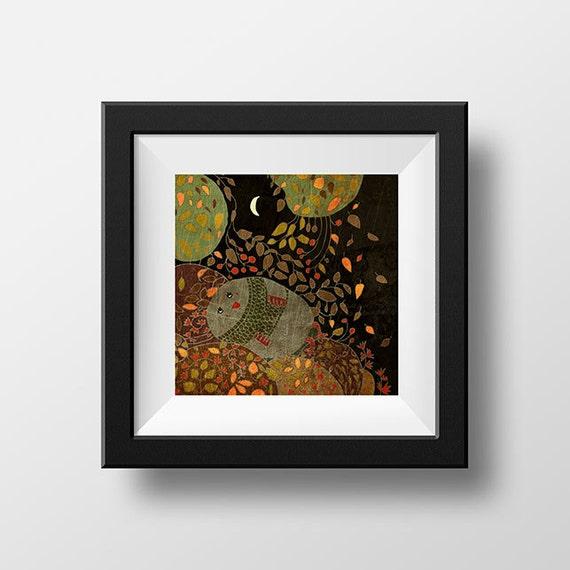 AUTUMN NIGHT - art print // digital illustration // bird owl leaves fall brown night
