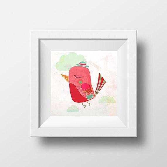 THE TRAVELLER art print - cute pink bird illustration // girl nursery wall decor