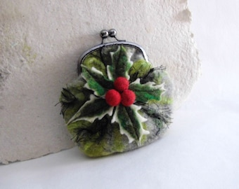 Wet Felted HOLLY with BERRY coin purse Ready to Ship with bag frame metal closure Handmade gift for her under 50