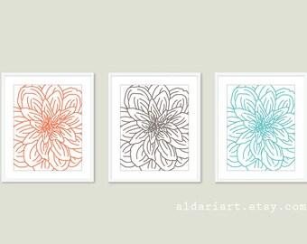 Modern Flower Art Prints - Flower Wall Art Print Set - Spring Decor - Coral Taupe Brown Aqua Blue