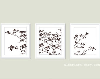 Tree Leaves and Branches Digital Print Set - Woodland Home Decor - Brown -  Contemporary Nature Wall Art  Tree Triptych
