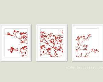 Tree Leaves and Branches Art Prints - Set of 3 - Woodland Nature Home Decor - Red and White - Contemporary Tree Wall Art  - Tree Triptych