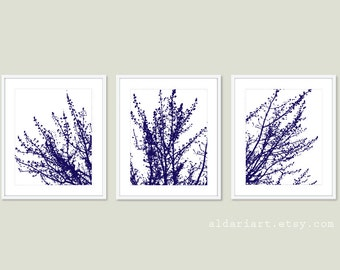 Modern Spring Tree Branches Digital Print Set  Woodland Home Decor - Navy Blue and White - Contemporary Multi Panel Tree Triptych Wall Art