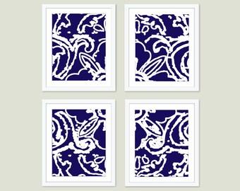 Abstract Flower Print Set  - Set of Four Prints - Modern Wall Art - Navy Blue Modern Home Decor