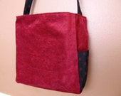 Vintage Red Velvet Tote Large, With Extra Long Strap.  Very strong.