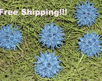 Set of 5 Natural Sweet Gum Ball Easter Spring Summer Flowers Resemble Blue Aliums
