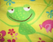 Frogs on Yellow with Pink Fleece Blanket - Ready to Ship Now