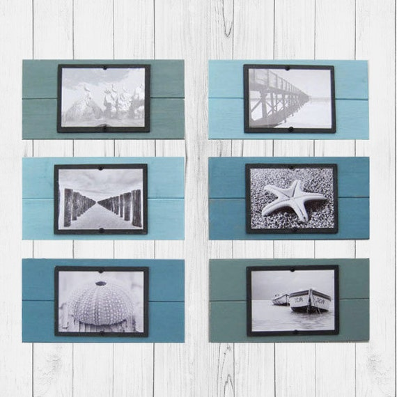 Set of Six Plank Frames with Shades of Turquoise  for 5x7 Pictures