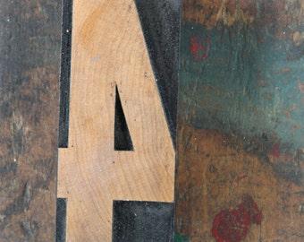 vintage letterpress, wood block stamp, typography, design / number four, 4