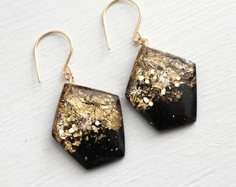 black geometric earrings with gold leaf and glitter, black earrings, gold earrings, gold leaf earrings, dangle earrings, tiny galaxies
