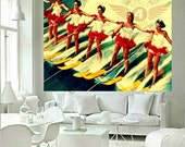 Beach Decor Water Ski Decor Girls mid Century Modern waterski art print beach house beach art vintage skiing Old Florida art  ski red yellow