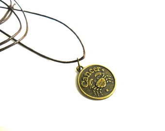 Cancer Astrology Necklace, Adjustable Zodiac Mens Necklace, Metal Cancer Crab  Men's Necklace, Mens Astrology Jewelry Zodiac Jewelry