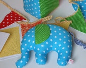 "Welcome Baby Set  ""Happy Colors"" soft elephant, toy cube, bunting, blank card"
