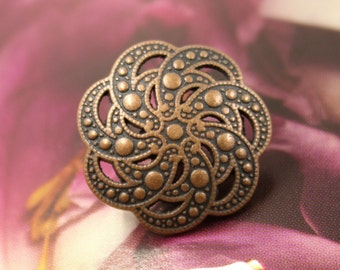 Metal Buttons - Paisley Flower Metal Buttons , Copper Color , Openwork , Shank , 0.75 inch , 10 pcs