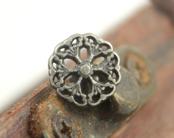 Metal Buttons - Medieval Filigree Metal Buttons , Nickel Silver Color , Openwork , Shank , 0.35 inch , 10 pcs