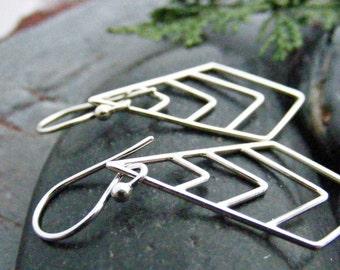 Silver Chevron Earrings, Sterling Silver Earrings, Chevron Jewelry, Geometric Jewelry, Dangle Earrings, Long Earrings