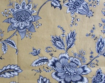 FRENCH COUNTRY floral, yellow/navy/white designer multipurpose fabric