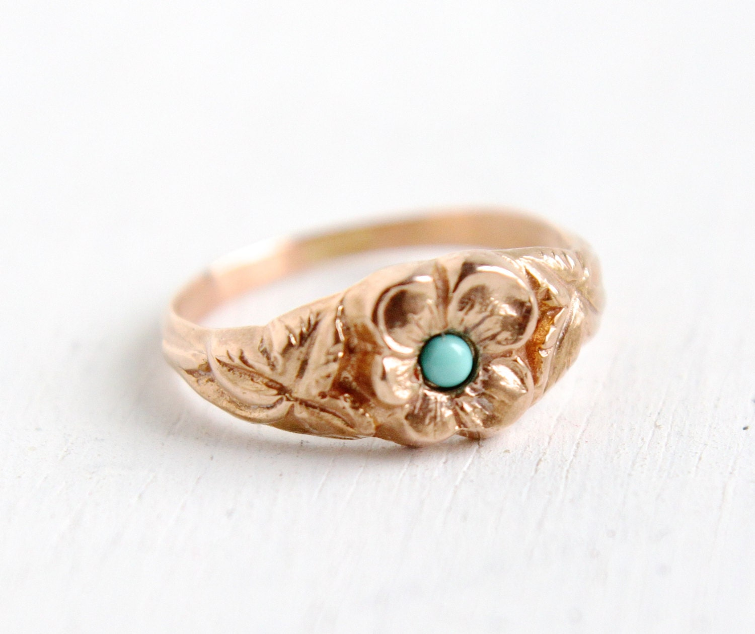 Antique 14k Rose Gold Turquoise Flower Ring Size 3 1 4 Baby