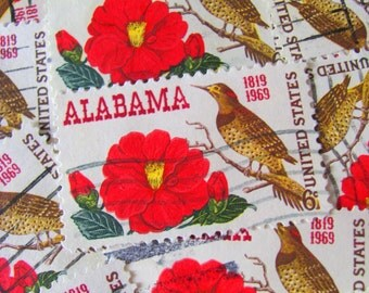 30 Fine Feathered Friends Vintage US Postage Stamps 6-cent Alabama Statehood Scott 1375 Camillia Yellowhammer Bird Twitter Tweet Philately