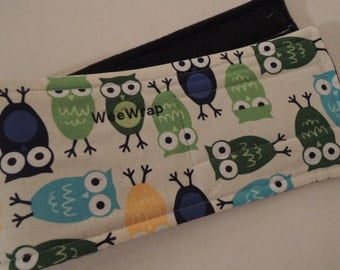 Dog Diaper, Belly Band, Owl Fabric, Stop Marking with WeeWrap, Personalized, Eco-Friendly