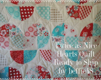 Twice as Nice Hearts Quilt, Great for Baby, Lap or Toddlers, Personalized