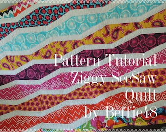 Ziggy SeeSaw Quilt Pattern Tutorial pdf Instant Download