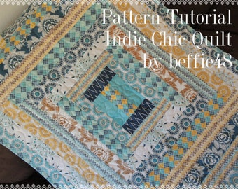 Indie Quilt Pattern Tutorial w photos, Jelly Roll Charm Pack, pdf