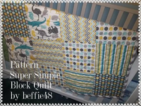 Beginner Block Quilt Pattern Tutorial, pdf. with photos