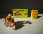 Antique Vintage Motorcycle Toy / Schuco Motodrill 1006 / Wind Up / Tin Plate Litho / US Zone Germany 1940's with Original Printed Box Wrap