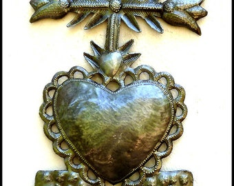 Metal Art Cross - Sacred Heart of Jesus, Metal Wall Hook - Haitian Recycled Steel Drum Metal Wall Art - Christian Wall Decor - 2009-HK