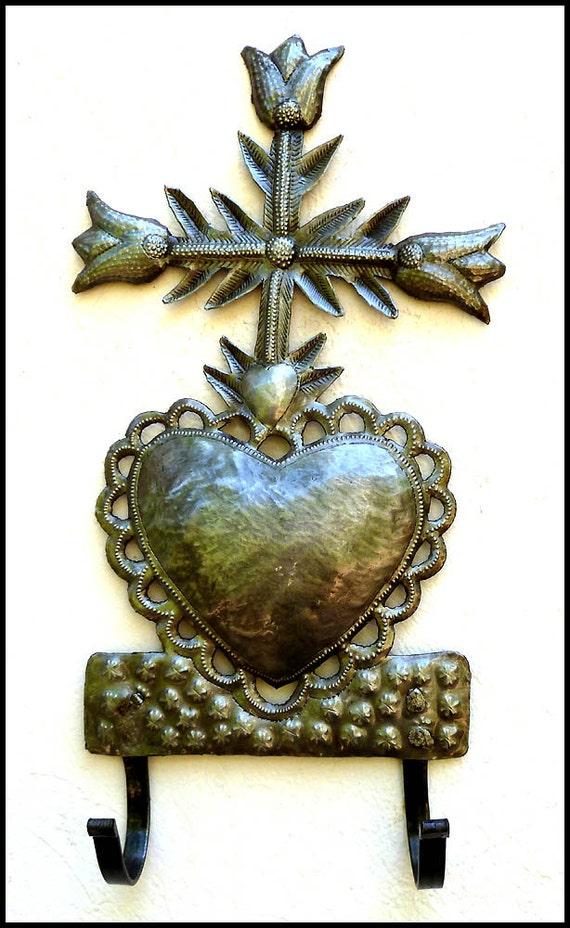 metal art cross sacred heart of jesus metal wall hook. Black Bedroom Furniture Sets. Home Design Ideas
