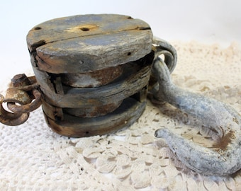 Vintage Wood and Iron Double Pulley, Pulley and Hook