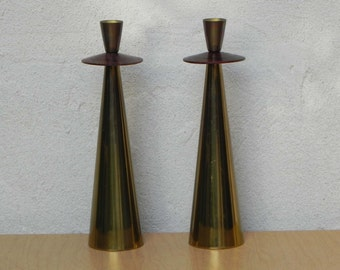 Tall Pair Italian Modern Brass Rosewood Cone Candlestick Holders
