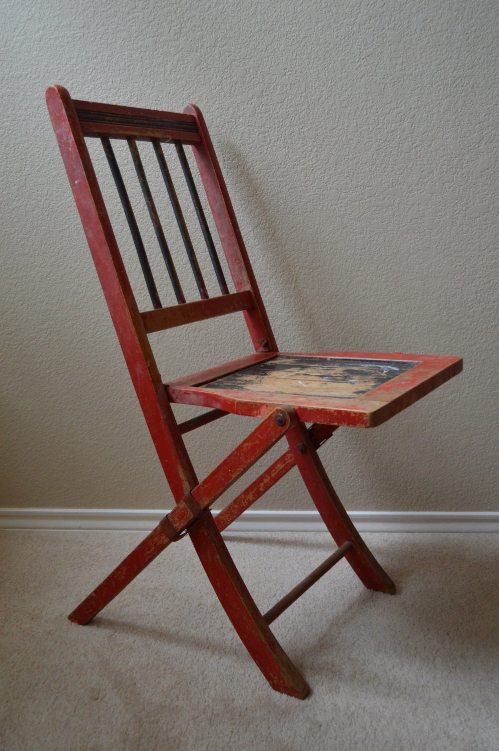 vintage 1910s antique folding theater chair solid wood