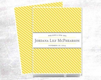 Modern Baby Memory Book Book // Personalized Baby Book // Baby Book // Personalised // Yellow Stripes
