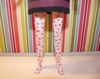 White with tiny pink hearts leggins tights for Pullip doll