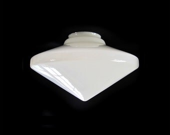 Atomic Age Glass Pendant Conical Shade Very Large White Glass Mid Century Modern Lighting