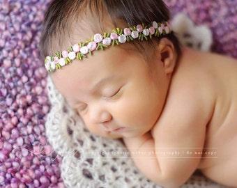 Pink Flower Headband, Pink Baby Headband, Newborn Photo Prop, Newborn Tieback, Baby Halo, Infant Headband, Baby Tieback, Pink Photo Prop
