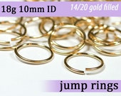 18g 10.0mm ID gold filled jump rings -- goldfill jumprings 18g10.00 links