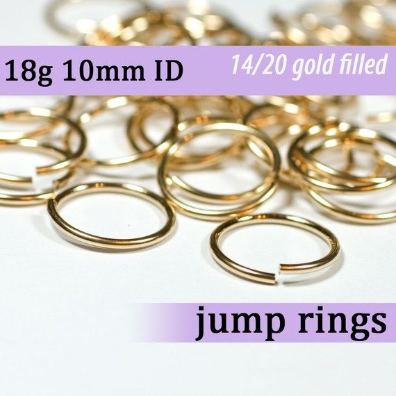 18g 10.0mm ID gold filled jump rings -- goldfill jumprings 18g10.00 jewelry supplies findings links