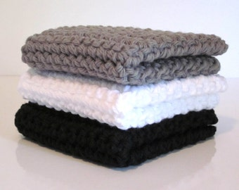 Crochet Dishcloths, Washcloths, Dish Cloth, Wash Cloth, Set of 3