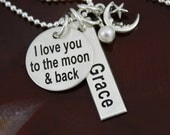 I love you to the moon and back - Personalized Sterling Silver Necklace