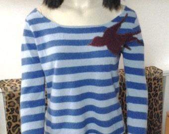 Cashmere Bird Striped Sweater Blues Burgundy Size Medium Anthropologie Style Rockabilly Pin-up 1950's Style