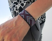 Geometric Beaded Friendship Bracelet,Huichol Inspired, Purple and Blue LIMITED EDITION, Leather Trim, Jade Stone Cuff, OOAK, Handmade