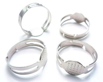 Rings Plain Base Findings DIY Supplies Pad Jewelry Silver 25 Pieces