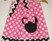 Minnie Chevron  pink dots applique  pillowcase dress sizes 3,6,9,12,18, months, 2t,3t,4t,5t,6,7,8,10,12