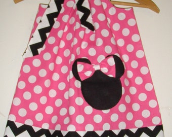 Minnie Mouse dress Chevron  pink dots applique  pillowcase dress Disney  clothing  in sizes 3,6,9,12,18 months,2t,3t,4t,5t,6,7,8,9,10,12,14