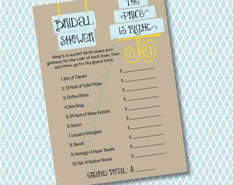 The Price is Right Bridal Shower Game - Modern Cake Printable Bridal Shower Price is Right Game - Kraft and Light Blue - INSTANT DOWNLOAD