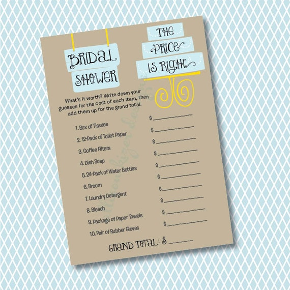 The price is right bridal shower game modern cake printable for Price is right bridal shower game template